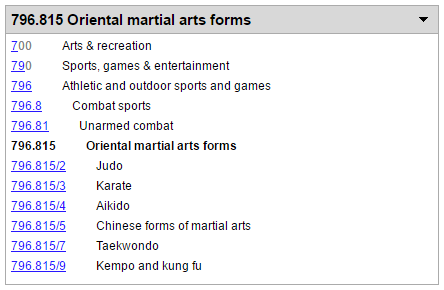 025 431: The Dewey blog: New numbers for martial arts topics